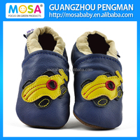 Baby Genuine Leather Shoes Blue Racing Car Pattern