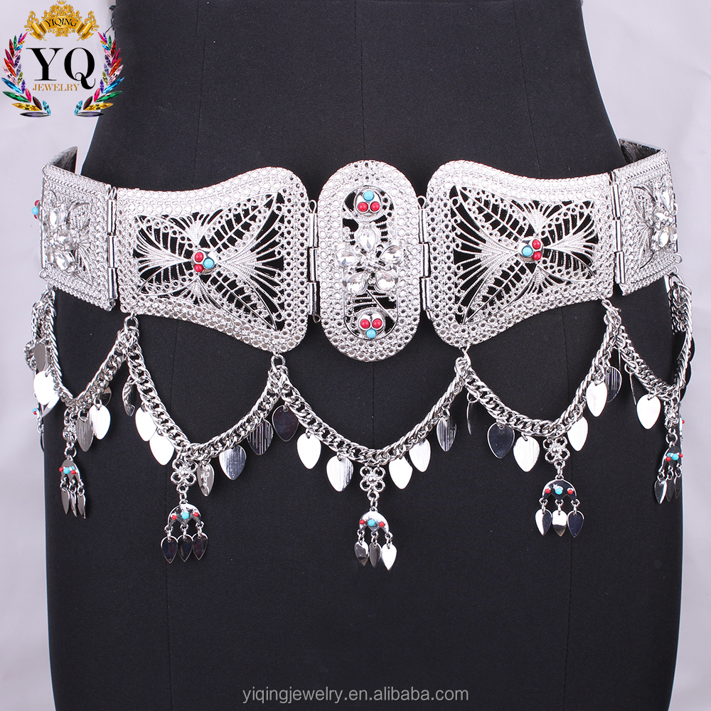 BEYQ-00014 elegant crystal chunky custom silver alloy blet waist belly chain for women