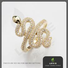 Customize 3A zircons snake design K-gold plated 925 silver rings