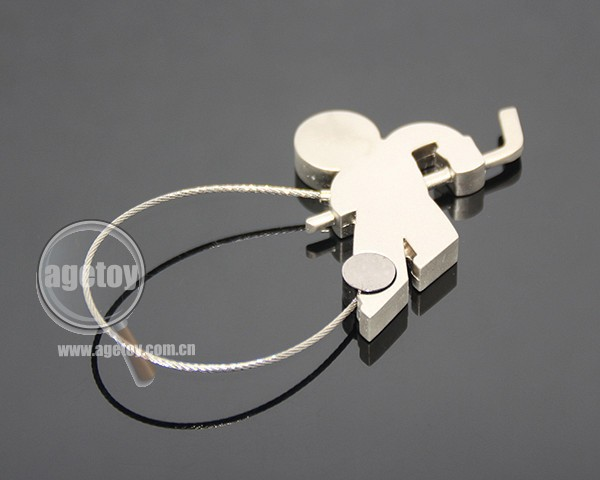 Field Hockey Sports Athlete Shaped Promotional Stainless Steel Wire Keyring Zinc Alloy Silver Metal Hockey Keychain