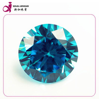AAA blue loose round synthetic cubic zirconia ceylon gems stone