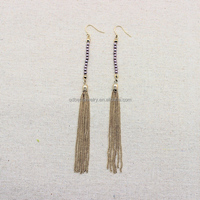 Tassel chains and lilac pearls long earring