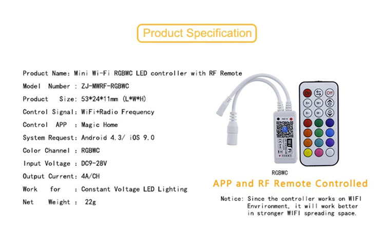 agendas 2018,Free APP WiFi ce rohs dc12v 144w led strip controller for led strips 5050 60