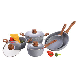 8pcs forged marble non-stick coating wooden handle aluminum cookware set