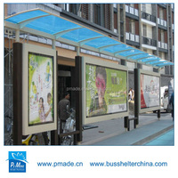 outdoor advertising scrolling lightbox Floor mount Shape and 304 Stainless steel Material bus stop shelter