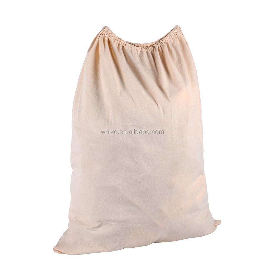 Large size canvas cotton drawstring eco-friendly laundry bag