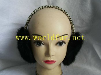 TE-001 Rabbit Earmuff, Rabbit ear muff, Fur Earmuff