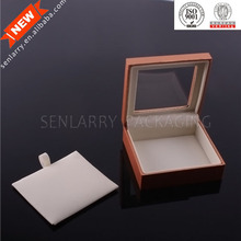 Promotional ring hinged box with leather pad insert of jewelry box with clear window