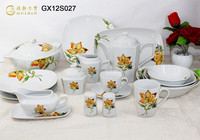 GUIXIN 43-piece Ceramic dinnerware with decal, Flower Printing, serving for 6