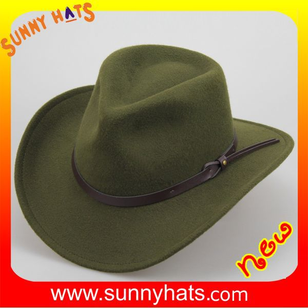 Alibaba Gold Supplier Sunny Hats New Project High Quality Fabric Cowboy Hat In Olive/Brown Cheap Wholesale