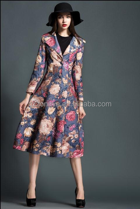2015 winter women's long sleeve trench wind dress coat latest designs for lady formal coat and skirt garment factory OEM supply