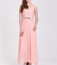 fashion long peach chiffon latest net dress designs
