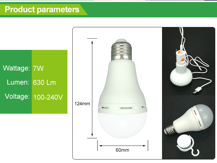 High performance rechargeable A60 9W e27 led light bulb