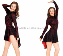 2017 New !! MBQ862 Adult sexy black red lycra lace jazz dance dress