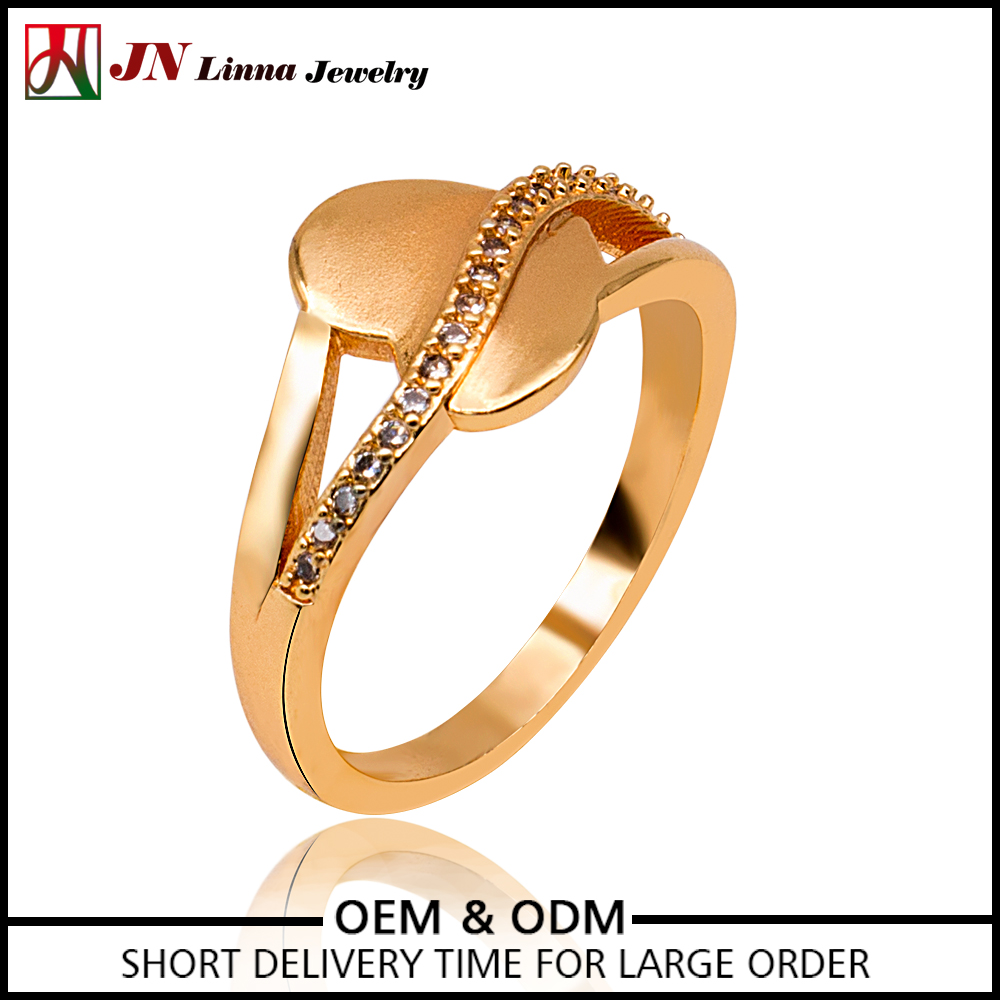 JN4049 top quality zirconia heart shaped gold plated copper brass ring
