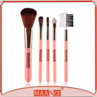 Easy to carry 5pcs beautiful makeup brushes trave makeup brush kit