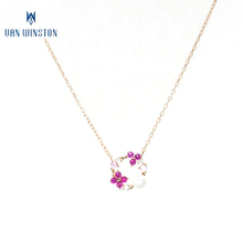 925 silver chain beautiful flower luxurious bead pendant necklace for women