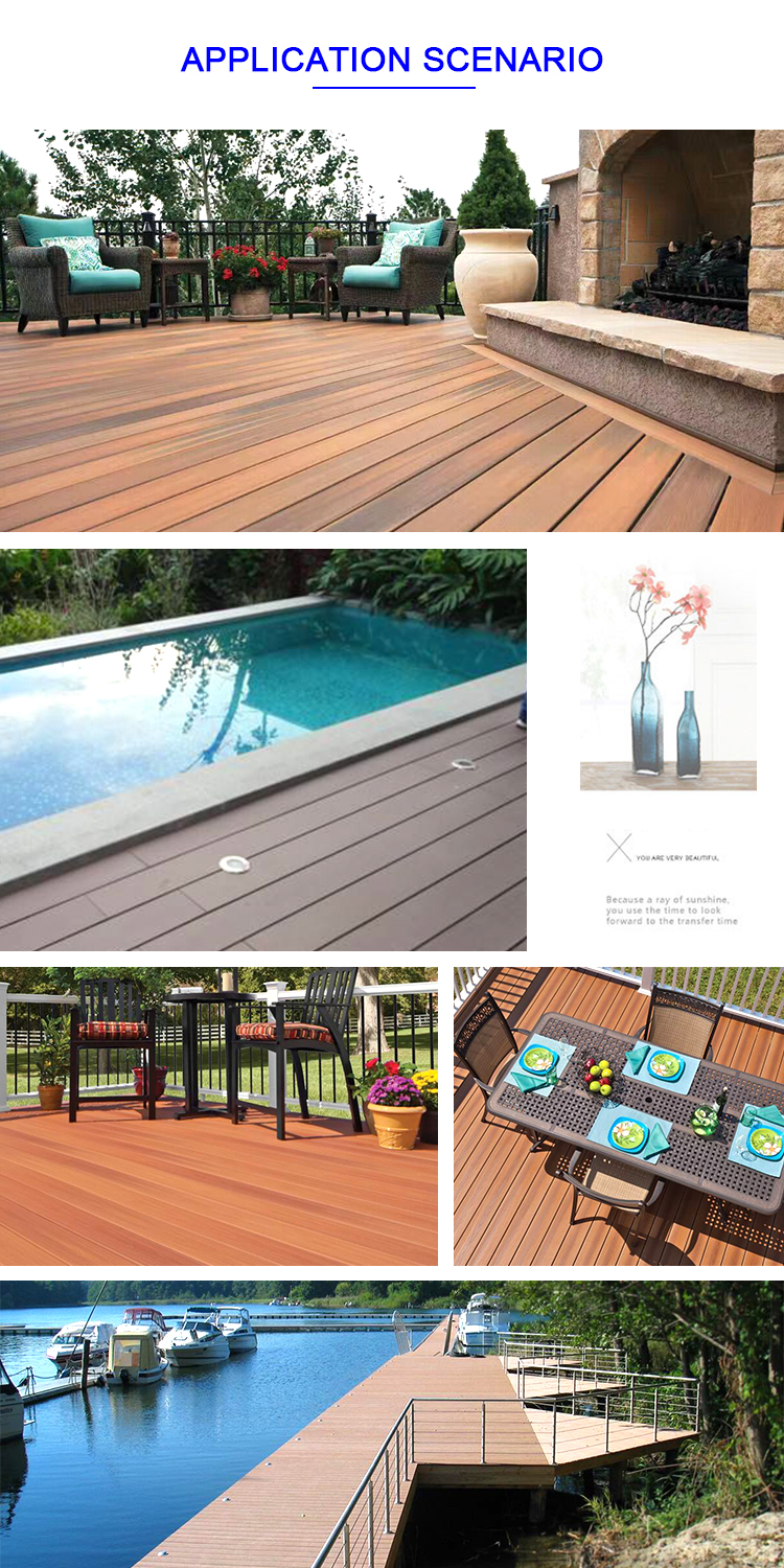 Non fading outdoor decoration grey wood plastic patio floors