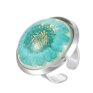 Hot selling dry flower starfish inside trip souvenir elegant women 925 silver jewelry ring