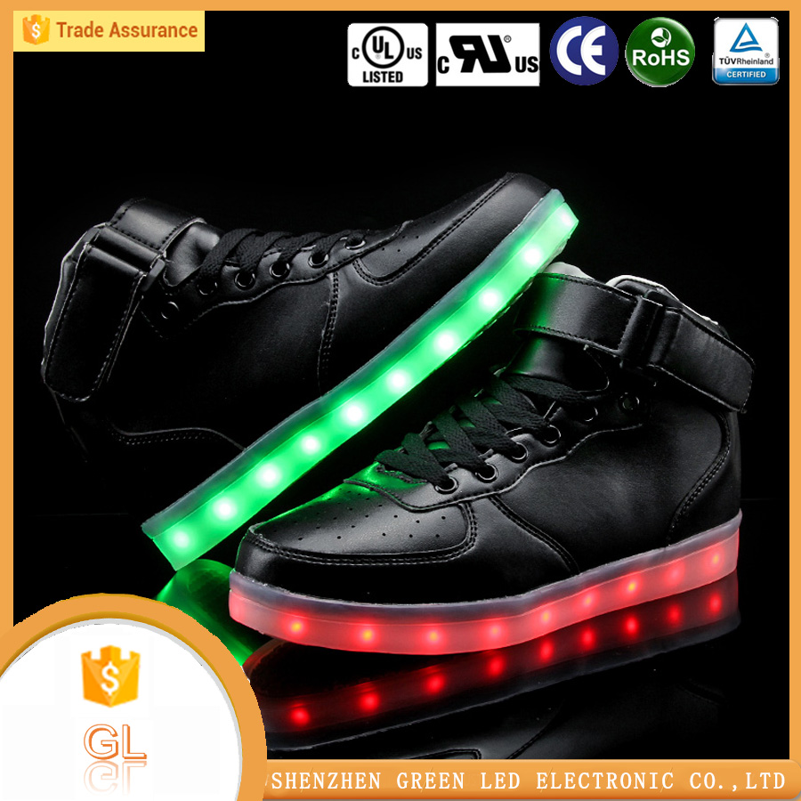 Customized led high cut shoes,adult led light running shoes with rubber shoe soles
