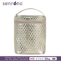 OEM ! High quality gloss golden PVC with zipper round cosmetic pouch case handbag for ladies