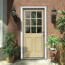 36 in. x 80 in. 9 Lite Unfinished Hemlock Prehung Front Door with Primed White AuraLast Jamb and Brickmold