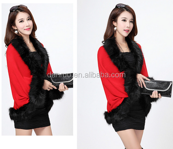 Hot Sale Fashion Winter Faux Fur Dress Shawls/Artificial Fox For Women