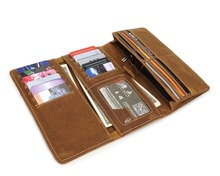 YD-049 Simple Style Crazy Horse Leather Wallet Passport Cover Card Holder Mens Purse