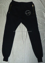 Custom embroider sweat pants print sweat pants Side Pocket On zip