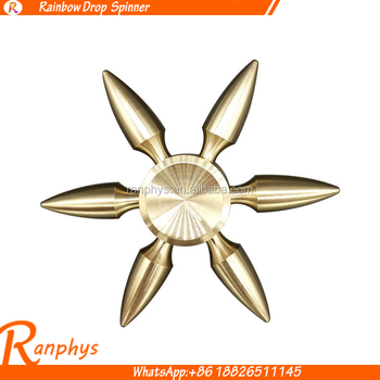 Ranphys wholesale brass bullet fidget spinner 6 arms hot selling gift toy spinner