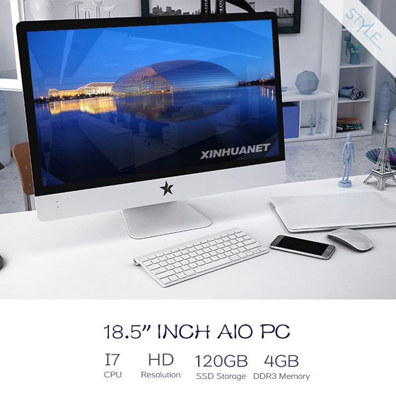 "made in china factory 18.5"" quad core Intel i7 1080P all-in-one PC 4GB 500G 1TB DDR3 desktop laptop <strong>computer</strong> all in one pc"
