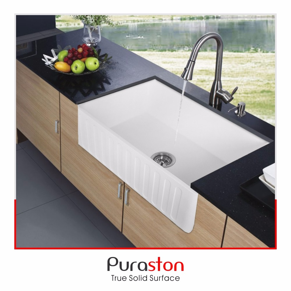 Porcelain 36 Inch 100 Degree Heat Resistant Matte Stone Kitchen Farmhouse Sink With Cutting Board With Apron