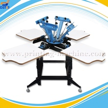 DX404DS 4 color 4 station textile rotary silk screen printing machine for garment
