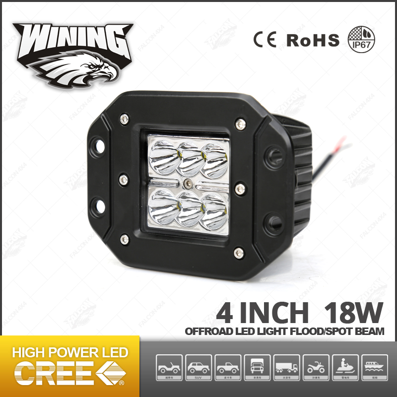 Wining 18W Embeded Led Work Light, 4 Inch Square Led Driving Lights , Hed Headlight Tuning Light 18W