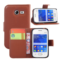 Wholesale Alibaba Mobile Phone Accessories Litchi Pattern Leather Wallet Flip Cover Case for Samsung Galaxy Pocket 2 G110H