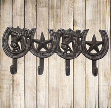 Cast Iron Vintage Horse Head And Star Horseshoe Decorative Metal Coat And Hat Wall Hook--4 Hooks