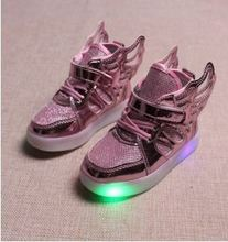 children fashion led light shoes kid New design with wing sport shoes