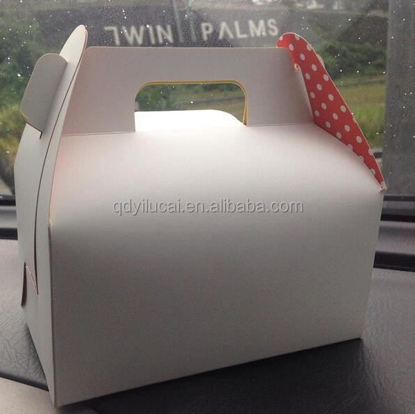 Custom white color take away macaron boxes cupcake wedding cake boxes with handles