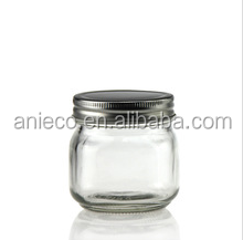 Eco-Friendly 250ml Glass Mason Jar with Silver Metal Lid For Food