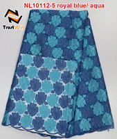beaded net lace fabric beaded bridal lace of NL10112 royalblue/aqua