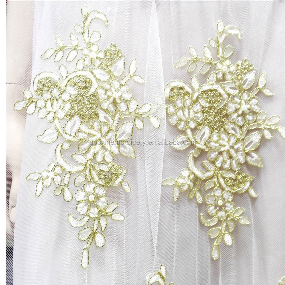 Gold Corded Lace Tulle Floral Embroidery Gauze lace about 52 ''Wide for Wedding Dress