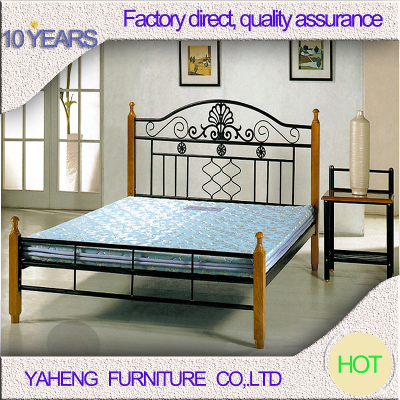 Comfortable promotion price metal double bed design furniture