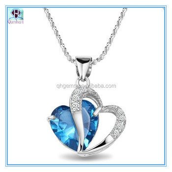 Fancy sea blue heart-shaped cz necklace