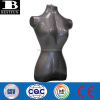 Top quality female inflatable mannequin for display bust body dummy clothes hanging folding half body big bust female mannequin