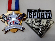 Mental sport medal as award for powerlifting match or championship