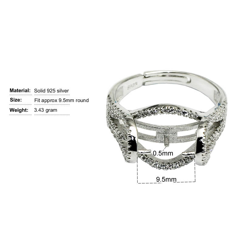 Beadsnice ID30635 new silver micro pave ring setting adjustable US ring size 7 to 9 fit 9.5mm round sold by PC ring base setting