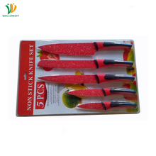 5 pcs Stainless Steel Non-stick Coating Sand Blasting BLack Red Kitchen Knife Set with Plastic Handle
