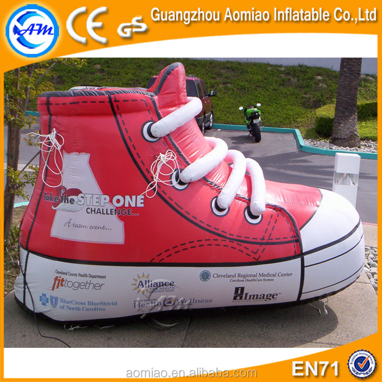 Vivid design advertising product giant inflatable shoe, sneaker replica