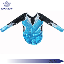 Customized Competition Wholesale Gymnastics Girls Long sleeve rhinestone spandex gymnastics leotard