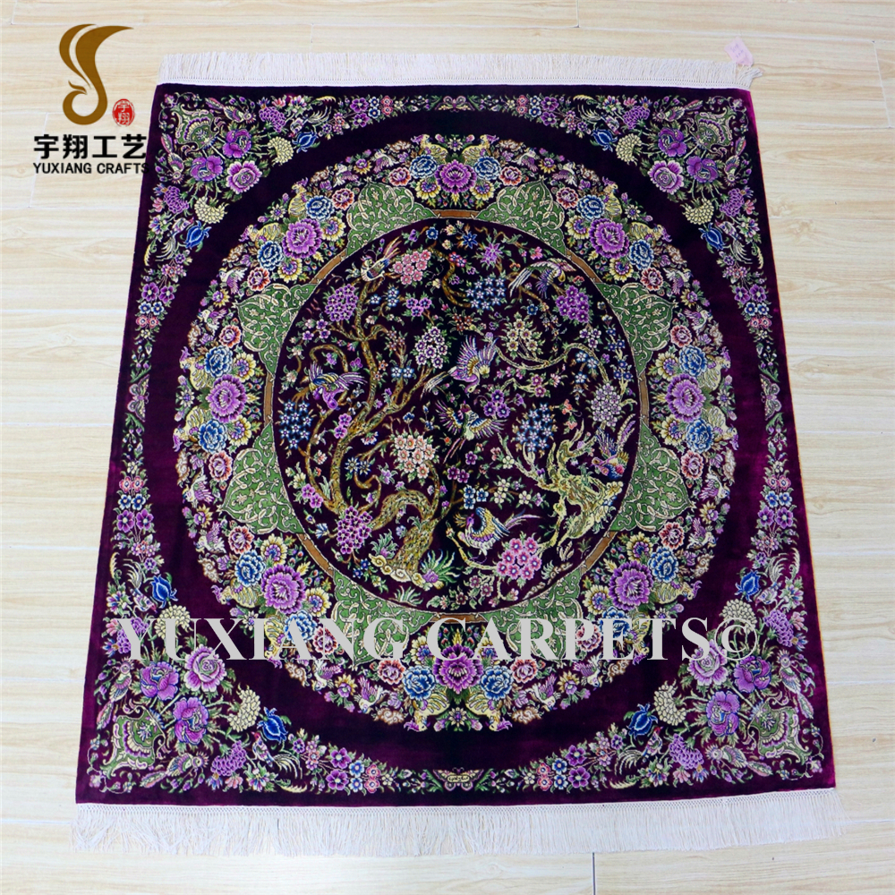 4x4ft square persian rugs hand knot carpets kashan flower silk rugs
